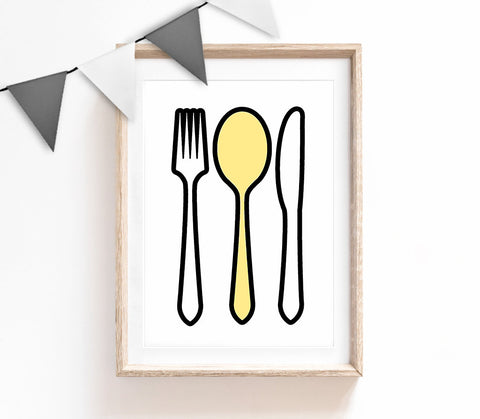 Black, White and Yellow Home Decor, Cute Print, Cutlery Poster, Kitchen Print, Housewarming Gift, Small and Large Wall Art