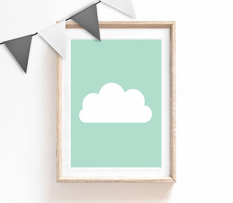 Turquoise Baby Nursery Art, Cute Print, Turquoise Cloud Poster, Kids Prints, Baby Gift, Baby Room, Small and Large Wall Art