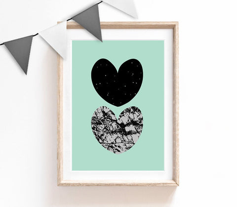 Turquoise Home Decor, Graphic Print, Hearts Poster, Livingroom Print, Housewarming Gift, Small and Large Wall Art