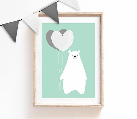 Turquoise Baby Nursery Art, Cute Print, Bear Poster, Balloon Print, Kids Prints, Baby Gift, Baby Room, Small and Large Wall Art