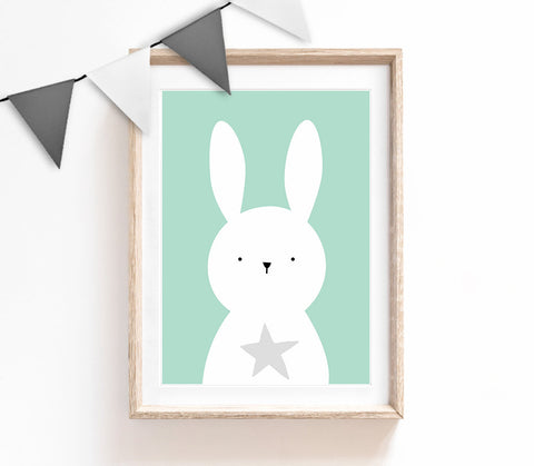 Turquoise Baby Nursery Art, Cute Print, Bunny Poster, Cute Print, Kids Prints, Baby Gift, Baby Room, Small and Large Wall Art