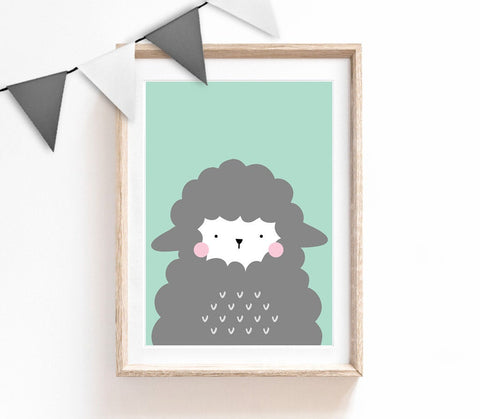 Turquoise Baby Nursery Art, Cute Print, Sheep Poster, Cute Print, Kids Prints, Baby Gift, Baby Room, Small and Large Wall Art