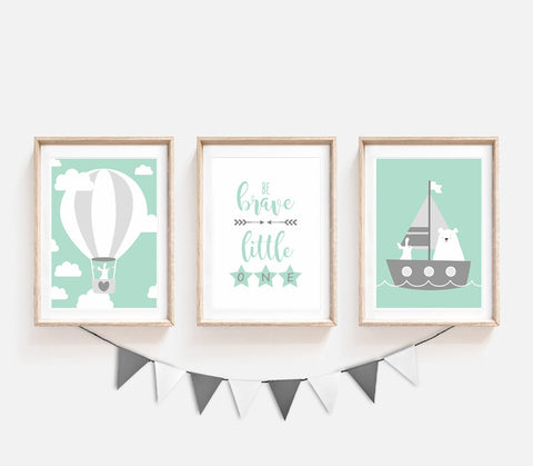 Set of 3, Animal Nursery Decor, Turquoise Kids Prints, Be Brave Little One, Bear Bunny Poster, Nursery Art, Sailboat Print, Air Balloon