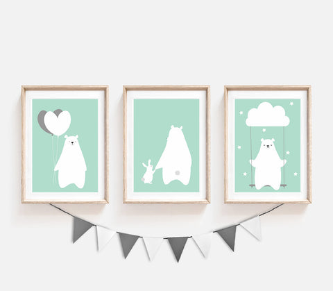 Set of 3, Animal Nursery Decor, Turquoise Kids Prints, Siblings Print, Bear Bunny Poster, Cute Print, Nursery Art, Print Set, Balloons Print