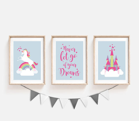 Nursery Prints, Blue Prints for Nursery, Unicorn Wall Art, Girls Nursery Decor, Kids Decor, Toddler Girl Room, Set of 3, Unicorn Printable