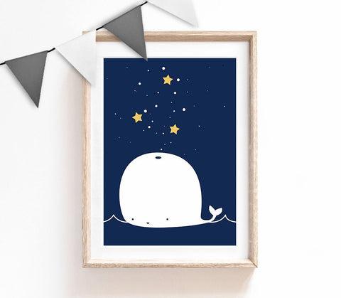 Nursery Print, Whale Wall Art, Kids Prints, Baby Nursery Decor, Navy Bedroom, Baby Boy Print, Baby Room Wall Art, Stars Nursery Decor