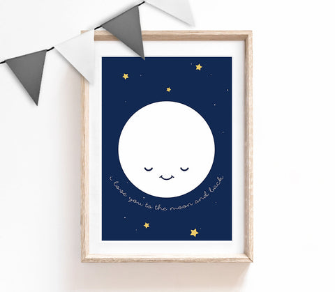 Nursery Print, Moon Wall Art, Kids Prints, Baby Nursery Decor, Navy Bedroom, Baby Boy Print, Baby Room Wall Art, Love You To Moon and Back