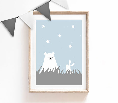 Blue Baby Nursery Art, Cute Print, Bear Bunny Poster, Stars Print, Kids Prints, Baby Gift, Baby Room, Small and Large Wall Art