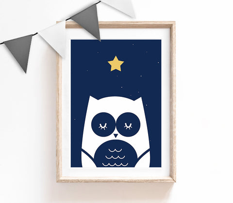 Nursery Print, Owl Wall Art, Kids Prints, Baby Nursery Decor, Navy Bedroom, Baby Boy Print, Baby Room Wall Art, Woodland Nursery Decor