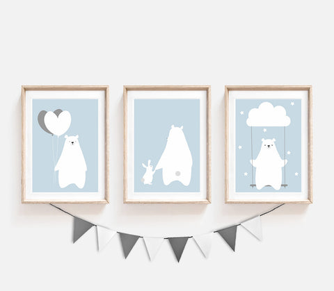 Set of 3, Animal Nursery Decor, Blue Kids Prints, Siblings Print, Bear Bunny Poster, Cute Print, Nursery Art, Print Set, Balloons Print