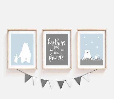 Set of 3, Animal Nursery Decor, Blue Grey Kids Prints, Brothers Make the Best of Friends, Bear Bunny Poster, Nursery Art, Stars Print