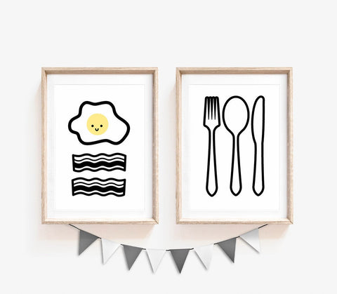 Set of 2, Yellow Kitchen Decor, Home Decor, Yellow Wall Art, Large Print For Wall, Cute Print, Kitchen Wall Art, Print Set, A5, A4, A3