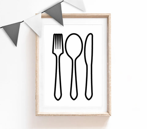 Black and White Home Decor, Cute Print, Cutlery Poster, Kitchen Print, Housewarming Gift, Small and Large Wall Art