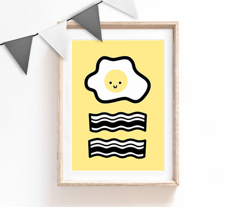 Black, White and Yellow Home Decor, Cute Print, Eggs and Bacon Poster, Kitchen Print, Housewarming Gift, Small and Large Wall Art