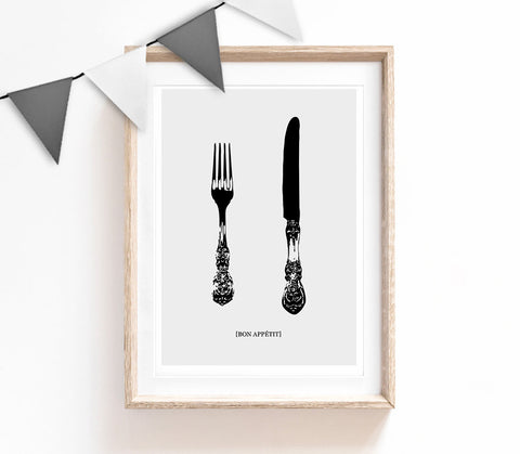 Grey Home Decor, Stylish Print, Cutlery Poster, Kitchen Print, Housewarming Gift, Small and Large Wall Art
