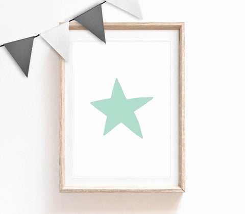 Turquoise Baby Nursery Art, Cute Print, Turquoise Star Poster, Kids Prints, Baby Gift, Baby Room, Small and Large Wall Art