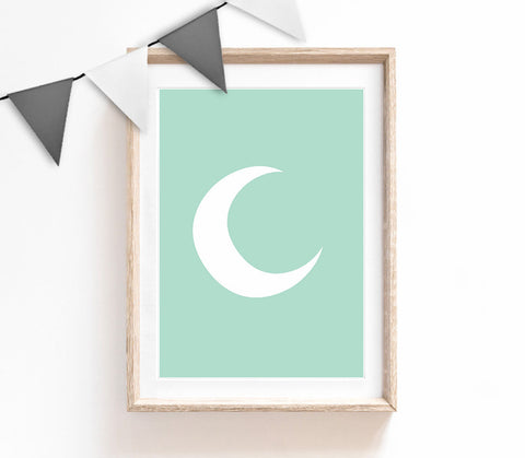 Turquoise Baby Nursery Art, Cute Print, Turquoise Moon Poster, Kids Prints, Baby Gift, Baby Room, Small and Large Wall Art