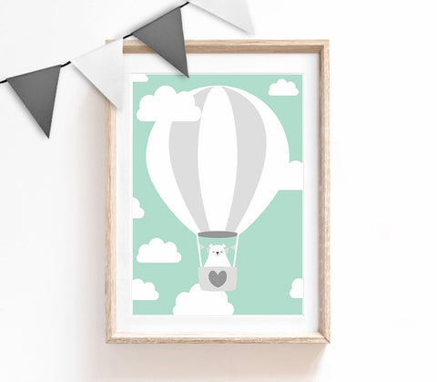 Turquoise Baby Nursery Art, Cute Print, Bear Poster, Air Balloon Print, Kids Prints, Baby Gift, Baby Room, Small and Large Wall Art