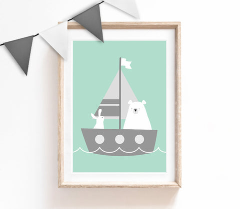 Turquoise Baby Nursery Art, Cute Print, Bear Bunny Poster, Sailboat Print, Kids Prints, Baby Gift, Baby Room, Small and Large Wall Art