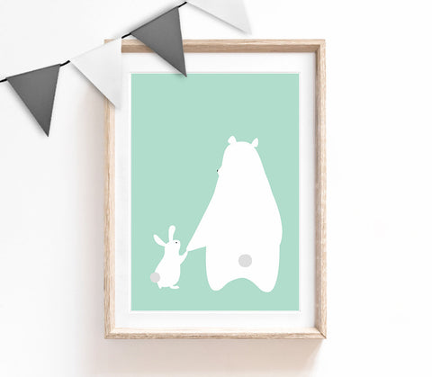 Turquoise Baby Nursery Art, Cute Print, Bear Bunny Poster, Friendship Print, Kids Prints, Baby Gift, Baby Room, Small and Large Wall Art