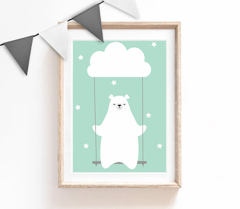 Turquoise Baby Nursery Art, Cute Print, Bear Poster, Cloud Print, Kids Prints, Baby Gift, Baby Room, Small and Large Wall Art
