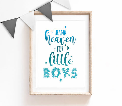 Thank Heaven for Little Boys, Typography Wall Art, Cute Quote Print, Blue Home Decor, Nursery Print, Baby Room