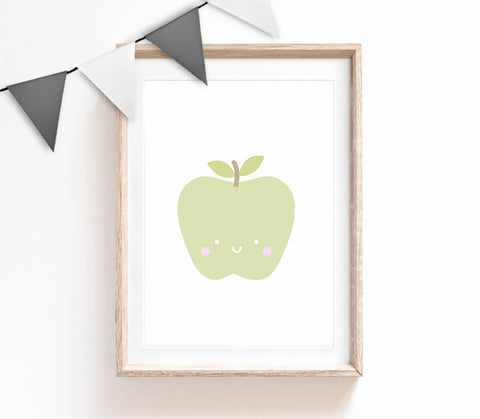 Green Baby Nursery Art, Cute Print, Apple Poster, Kids Prints, Baby Gift, Baby Room, Small and Large Wall Art