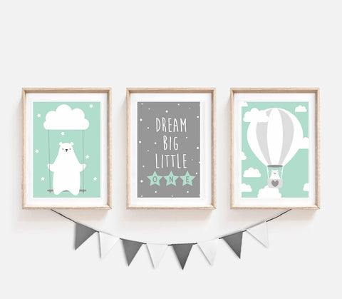 Set of 3, Animal Nursery Decor, Turquoise Kids Prints, Dream Big Little One, Bear Poster, Cute Print, Nursery Art, Print Set, Air Balloon