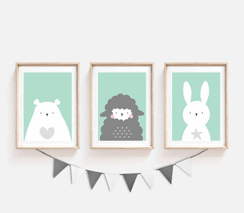 Set of 3, Animal Nursery Decor, Turquoise Kids Prints, Nursery Animals Wall Art, Bear Poster, Cute Print, Nursery Art, Print Set