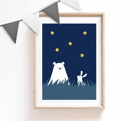 Bear and Bunny Print, Wall Art, Kids Prints, Baby Nursery Decor, Navy Bedroom, Baby Boy Print, Baby Room Wall Art, Star Nursery Decor