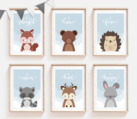 Nursery Prints, Blue Print Nursery, Blue Wall Art, Cloud Prints, Woodland Decor, Set of 6, Sky Print, Woodland Animal Prints, Bear Print