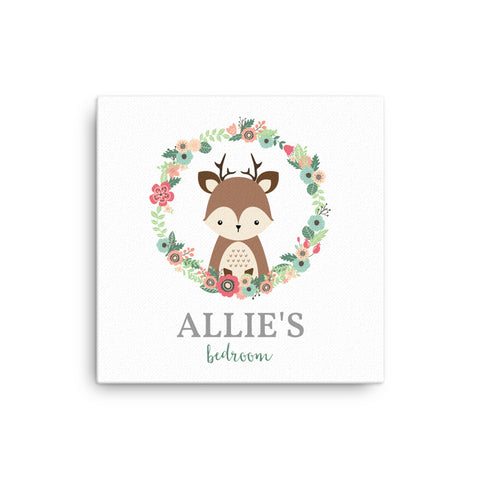 "16X16"" Personalised Deer Fawn with Floral Wreath Canvas Print"