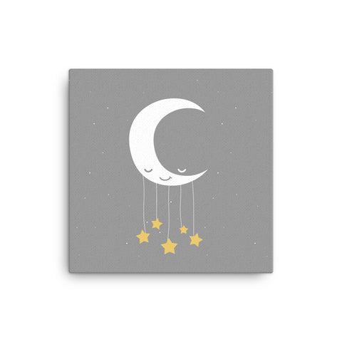 "16X16"" Moon and Stars Canvas Print"