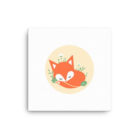 "16X16"" Fox in Flowers Canvas Print"