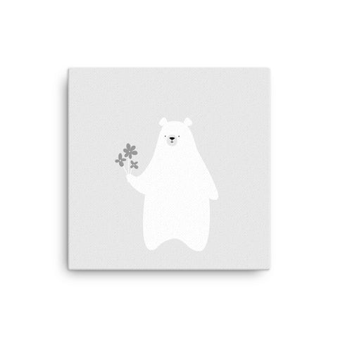 "16X16"" Bear with Flowers Canvas Print"
