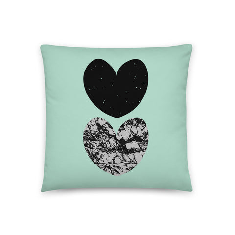 "18x18"" Turquoise Graphic Heart Cushion"