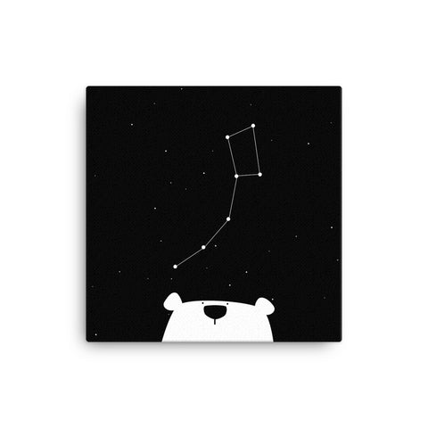 "16X16"" Polar Bear Constellation Canvas Print"