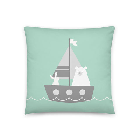 "18x18"" Turquoise Bear and Bunny in Sailboat Cushion"