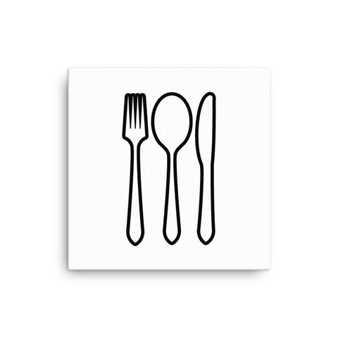 "16X16"" Knife Spoon and Fork Canvas Print"