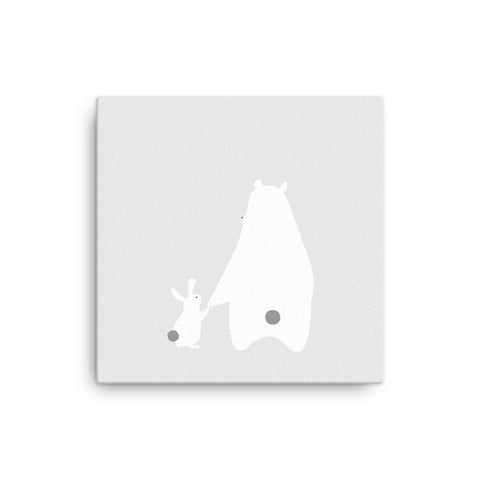 "16X16"" Bear and Bunny Canvas Print"