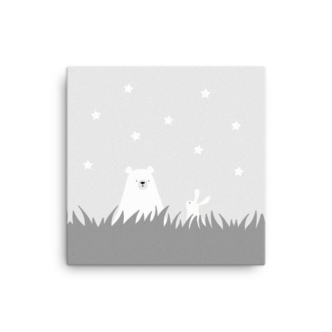 "16X16"" Bear and Bunny in Grass Canvas Print"