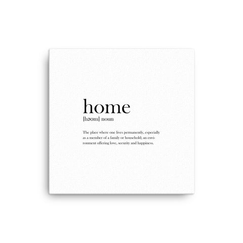 "16X16"" Home Definition Dictionary Canvas Print"