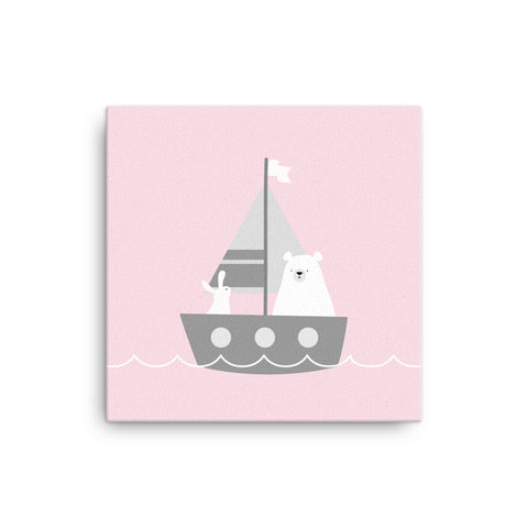 "16X16"" Bear and Bunny in Boat Print Canvas Print"