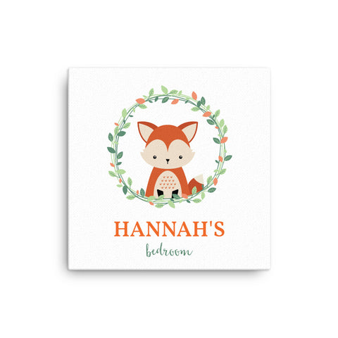 "16X16"" Personalised Fox with Floral Wreath Canvas Print"