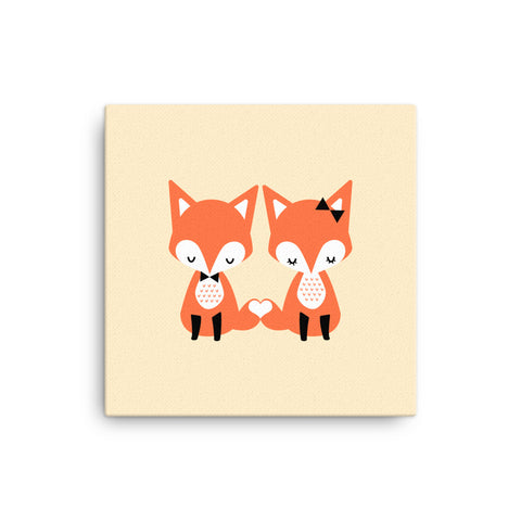 "16X16"" Foxes Canvas Print"
