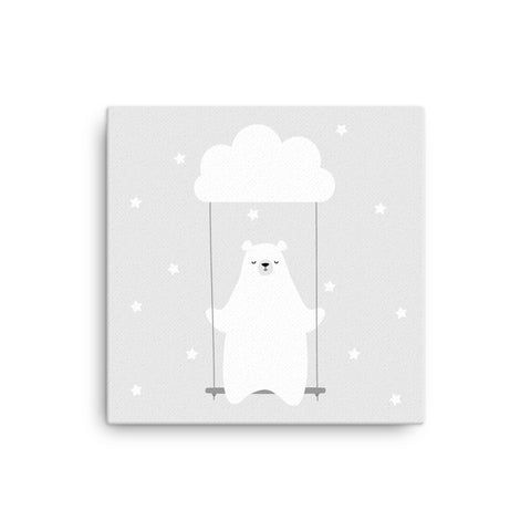 "16X16"" Bear on Swing Canvas Print"