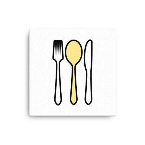 "16X16"" Knife and Fork with Yellow Spoon Canvas Print"