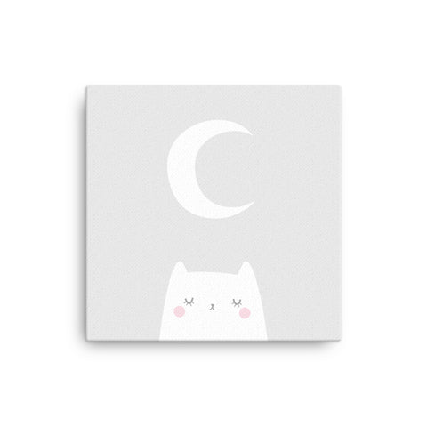 "16X16"" Cat and Moon Canvas Print"