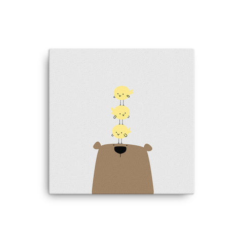 "16X16"" Bear with Chicks Canvas Print"