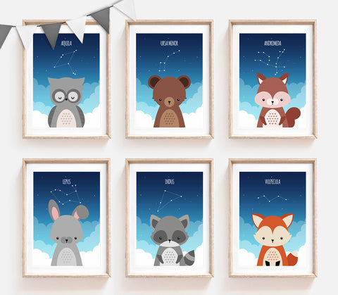Set of 6 Woodland Animals with Constellations Prints